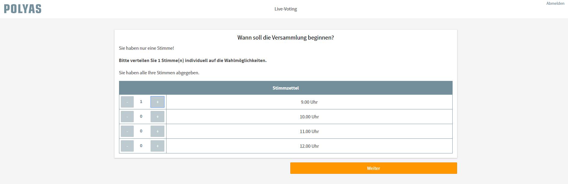 So sieht der Stimmzettel beim Live Voting für Wähler aus