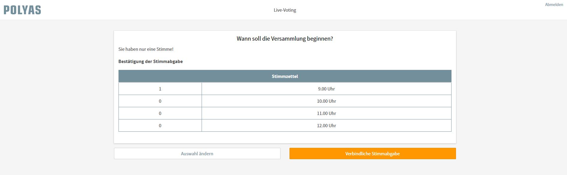 Die verbindlichen Stimmabgabe ist der letzte Schritt beim Live Voting
