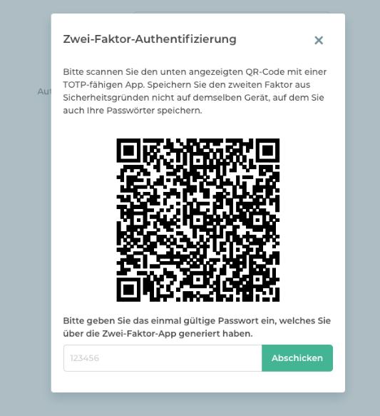 Scannen Sie den QR-Code für die zeitbasierte Methode der Zwei-Faktor-Authentifizierung