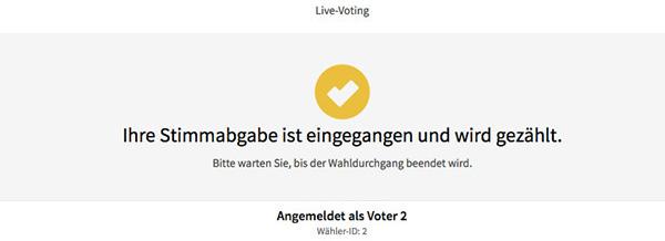 Stimmabgabe Live-Voting: Kontrollbildschirm Erfolgreiche Stimmabgabe