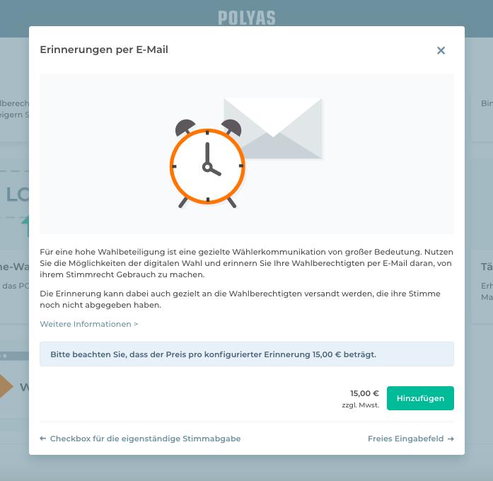 Buchen Sie das Feature Erinnerung per E-Mail