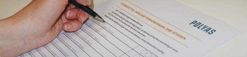 Stimmzettel-Vorlage zur Vorstandswahl im Berufsverband