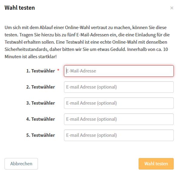 So fügen Sie Ihrer Testwahl E-Mail-Adressen hinzu