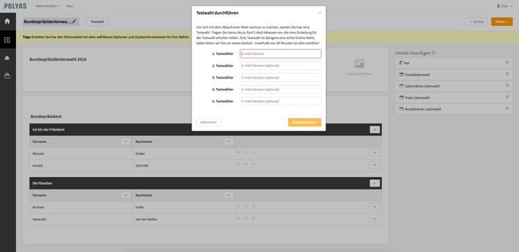 Führen Sie eine kostenlose Testwahl durch bevor Sie Ihre Online-Wahl versiegeln