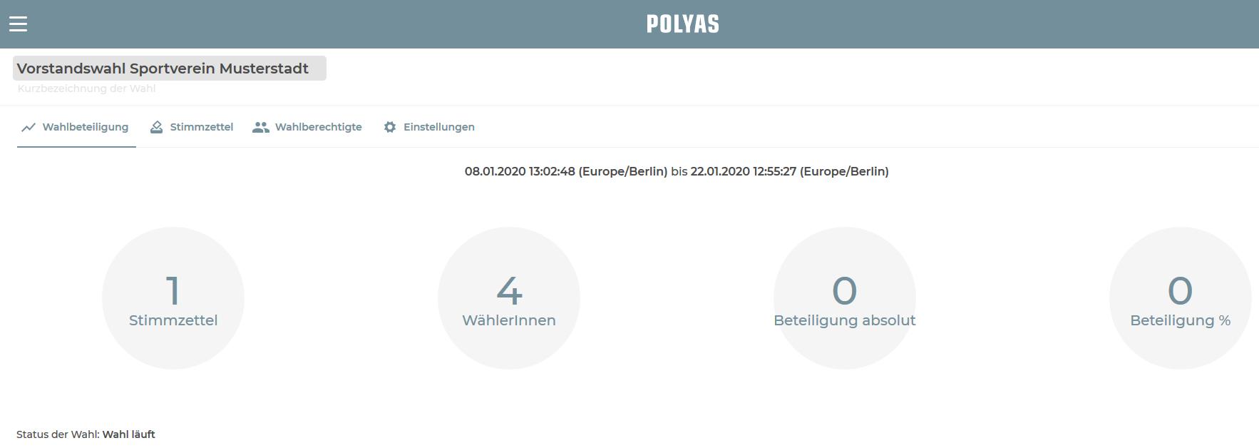 Sehen Sie die aktuelle Wahlbeteiligung im POLYAS Online-Wahlmanager ein