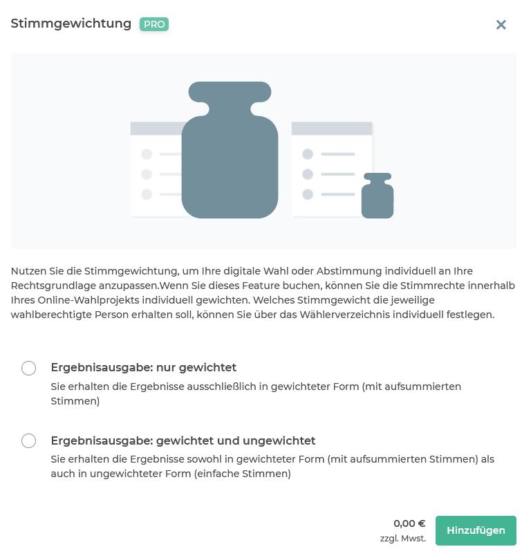 """Feature """"Stimmgewichtung"""" buchen"""