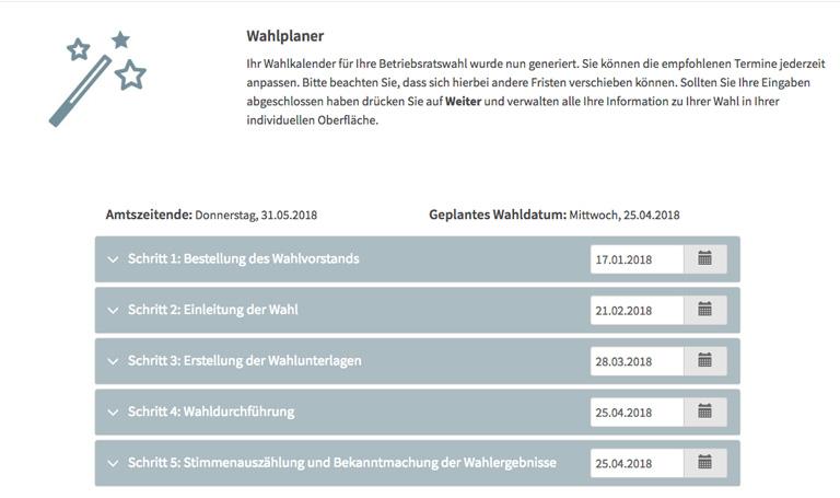 Wahlplaner im Polyas Online Wahlmanager zur Betriebsratswahl - So funktioniert's
